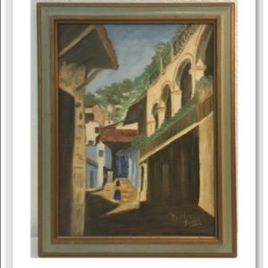 Other - Vintage Painting Village Lady Signed Bettie Brown